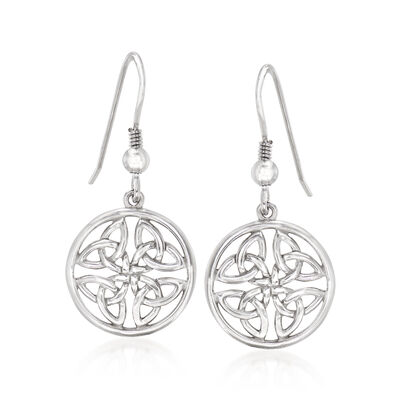 Sterling Silver Trinity Knot Drop Earrings, , default