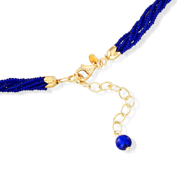 Italian Blue Murano Pendant Necklace in 18kt Gold Over Sterling