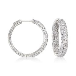 "2.00 ct. t.w. Pave Diamond Inside-Outside Hoop Earrings in 14kt White Gold. 3/4"", , default"