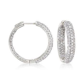 """2.00 ct. t.w. Pave Diamond Inside-Outside Hoop Earrings in 14kt White Gold. 3/4"""", , default"""