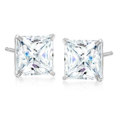 5.00 ct. t.w. Princess-Cut CZ Earrings in 14kt White Gold