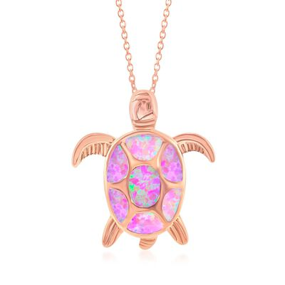 Pink Synthetic Opal Sea Turtle Pendant Necklace in 18kt Rose Gold Over Sterling, , default