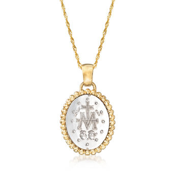 Italian 14kt Two-Tone Gold Miraculous Medal Adjustable Pendant Necklace, , default