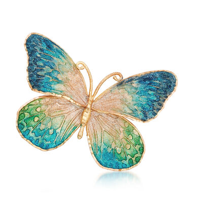 Italian Ceramic Blue and Green Butterfly Pin in 14kt Yellow Gold, , default