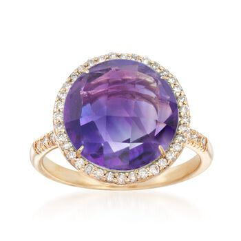 8.00 Carat Amethyst and .28 ct. t.w. Diamond Ring in 14kt Yellow Gold, , default