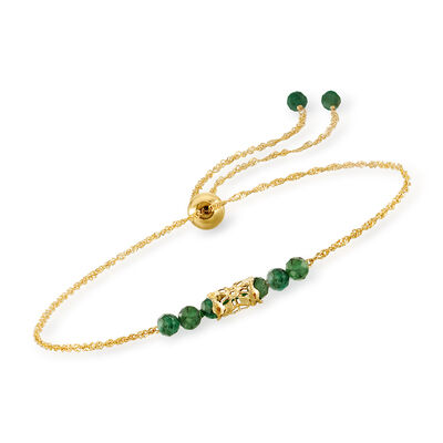 1.00 ct. t.w. Emerald Bead Bolo Bracelet in 14kt Yellow Gold