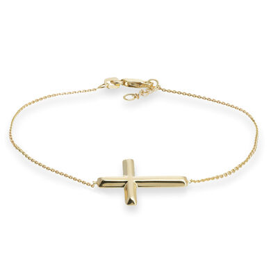 14kt Yellow Gold East-West Sideways Cross Bracelet