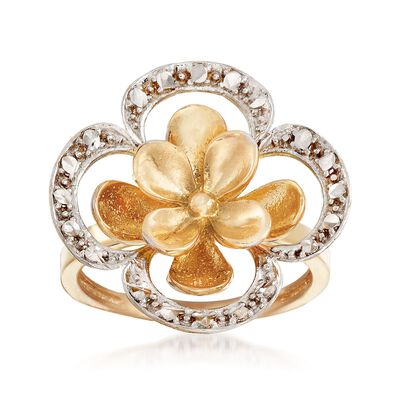 14kt Two-Tone Gold Floral Ring, , default