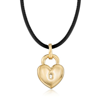 Italian Andiamo 14kt Yellow Gold Pendant Necklace With Leather Cord, , default