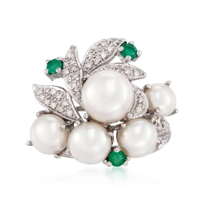 Cultured Pearl and Diamond Cluster Ring with Emeralds in Sterling Silver, , default