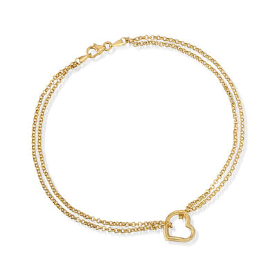 14kt Yellow Gold Two-Strand Heart Center Anklet, , default