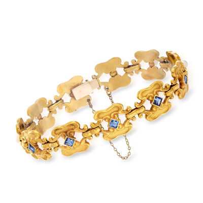 C. 1950 Vintage Synthetic Sapphire and 3mm Cultured Pearl Bracelet in 18kt Yellow Gold, , default