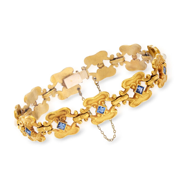 "C. 1950 Vintage Synthetic Sapphire and 3mm Cultured Pearl Bracelet in 18kt Yellow Gold. 7"", , default"