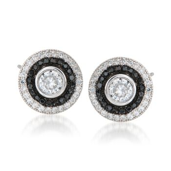 1.60 ct. t.w. Black and White CZ Jewelry Set: Stud Earrings and Earring Jackets in Sterling Silver, , default