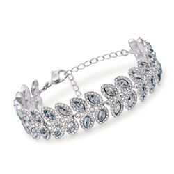 "Swarovski Crystal ""Baron"" Blue and Clear Crystal Bracelet in Silvertone, , default"