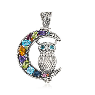 4.61 ct. t.w. Multi-Gem Half-Moon and Owl Pendant in Sterling Silver, , default