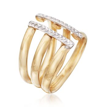 Italian 14kt Two-Tone Gold Three-Row Open Ring. Size 6, , default