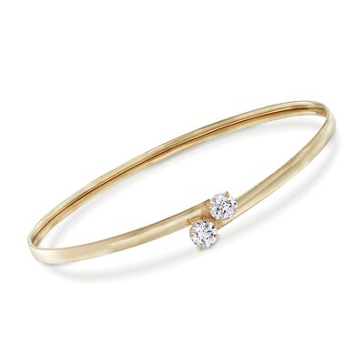 1.00 ct. t.w. CZ Bypass Bangle Bracelet in 14kt Yellow Gold, , default
