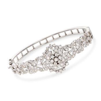 """C. 1980 Vintage 3.80 ct. t.w. Diamond Cluster Bangle Bracelet in 14kt White Gold. 7.5"""", , default"""