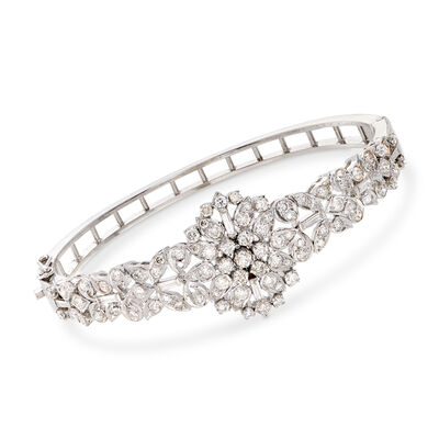 C. 1980 Vintage 3.80 ct. t.w. Diamond Cluster Bangle Bracelet in 14kt White Gold, , default