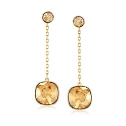 "Swarovski Crystal ""Latitude"" Golden Crystal Drop Earrings in Gold Plate , , default"