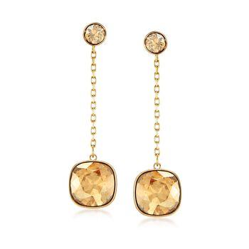 "Swarovski Crystal ""Latitude"" Golden Crystal Drop Earrings in Gold Plate , , default"