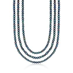"5-5.5mm Black Cultured Pearl Endless Necklace. 80"", , default"