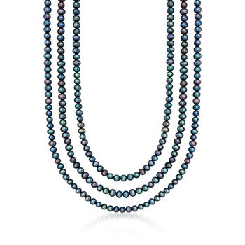 "5-5.5mm Black Cultured Pearl Endless Necklace. 80"", , default"