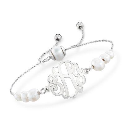 c44245ee9 Cultured Pearl Monogram Bolo Bracelet in Sterling Silver, , default