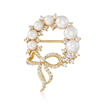 4-5mm Cultured Pearl and .76 ct. t.w.  White Topaz Wreath Pin in 18kt Gold Over Sterling