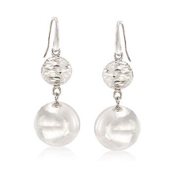 Italian Sterling Silver Double Bead Drop Earrings , , default