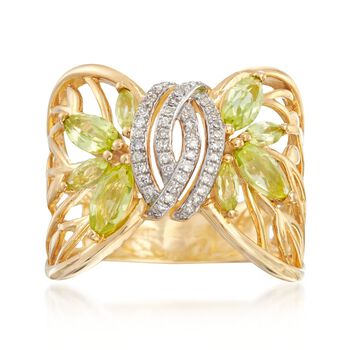 1.20 ct. t.w. Peridot and .13 ct. t.w. Diamond Cutout Leaf Ring in 18kt Gold Over Sterling, , default