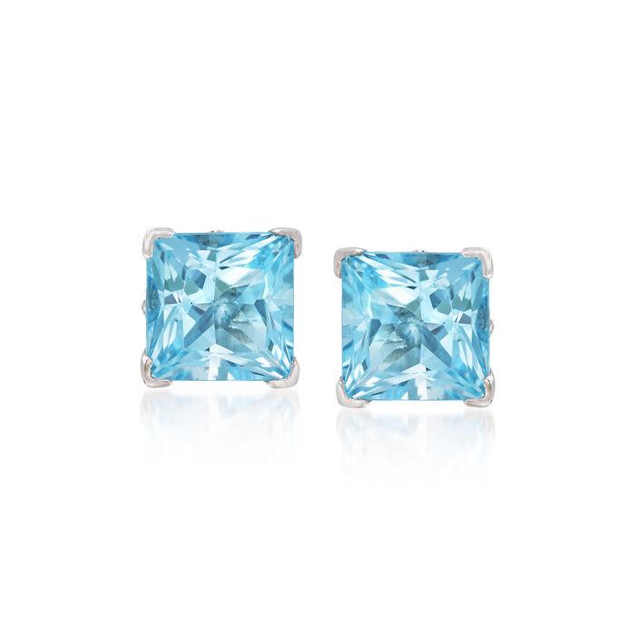 4.10 ct. t.w. Princess-Cut Swiss Blue Topaz Stud Earrings in Sterling Silver, , default