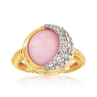Pink Opal and .40 ct. t.w. White Topaz Crescent Moon Ring in 18kt Gold Over Sterling