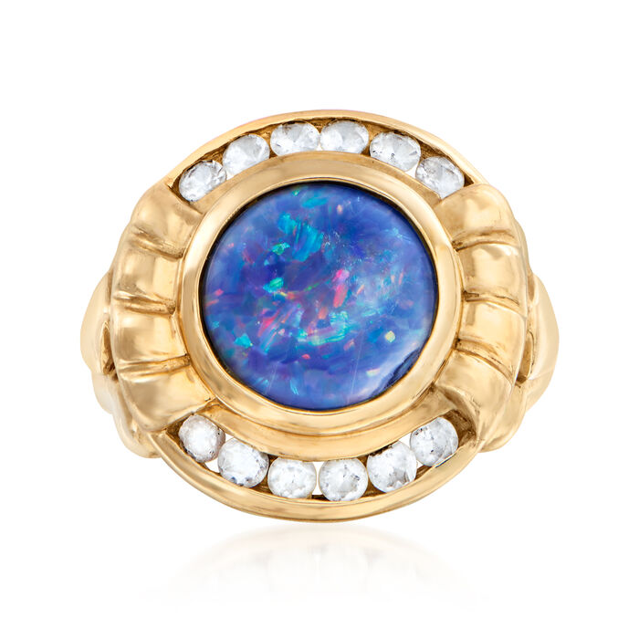 C. 1990 Vintage Synthetic Opal and .50 ct. t.w. CZ Ring in 10kt Yellow Gold. Size 6