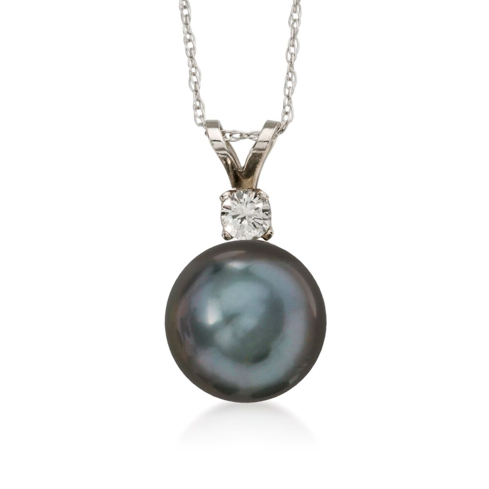 9 10mm black cultured tahitian pearl necklace with 10 carat diamond 9 10mm black cultured tahitian pearl necklace with 10 carat diamond in 14kt white aloadofball Gallery