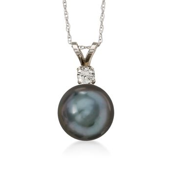 9-10mm Black Cultured Tahitian Pearl Necklace With .10 Carat Diamond in 14kt White Gold, , default