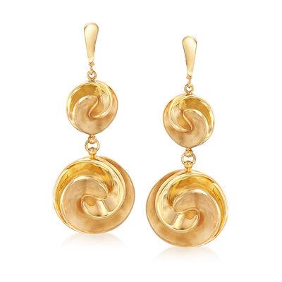 Italian 14kt Yellow Gold Swirl Disc Drop Earrings, , default