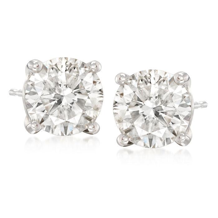 4.00 ct. t.w. CZ Stud Earrings in 14kt White Gold, , default