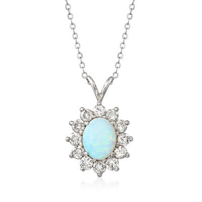 C. 1980 Vintage 10.5x8.5mm Opal and 1.50 ct. t.w. Diamond Pendant Necklace in 14kt White Gold