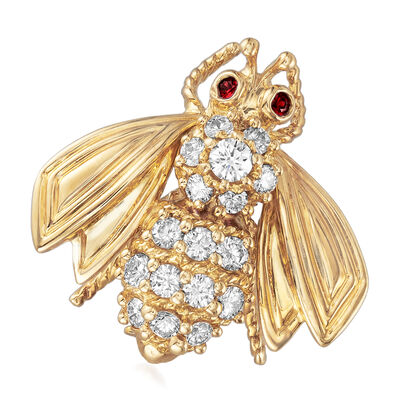 C. 1990 Tiffany Jewelry .40 ct. t.w. Diamond Bee Pin with Ruby Accents in 18kt Yellow Gold, , default