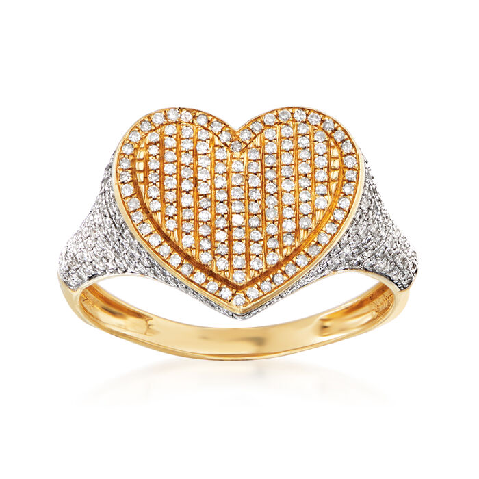.46 ct. t.w. Pave Diamond Heart Ring in 14kt Yellow Gold