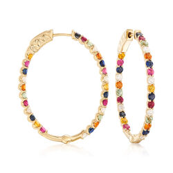 2.90 ct. t.w. Multi-Stone and .60 ct. t.w. Diamond Inside-Out Hoop Earrings, , default