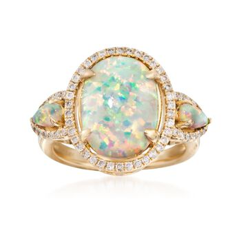 Opal and .35 ct. t.w. Diamond Ring in 14kt Yellow Gold, , default