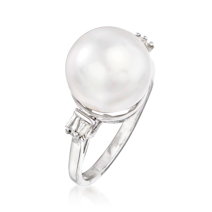 11-12mm Cultured South Sea Pearl and .18 ct. t.w. Diamond Ring in 14kt White Gold