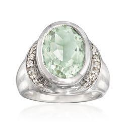 5.25 Carat Green Amethyst and .18 ct. t.w. Diamond Ring in Sterling Silver, , default