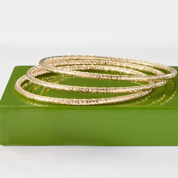 "Italian 18kt Yellow Gold Over Sterling Jewlery Set: Three Diamond-Cut Bangle Bracelets. 7.5"", , default"
