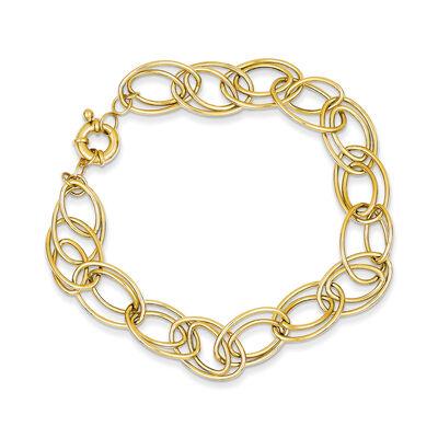 14kt Yellow Gold Double-Oval Link Bracelet, , default