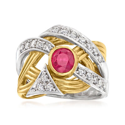 C. 1990 Vintage .86 Carat Ruby and .48 ct. t.w. Diamond Ring in Platinum and 18kt Yellow Gold