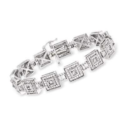 C. 1980 Vintage 6.80 ct. t.w. Diamond Square-Link Bracelet in 14kt White Gold, , default